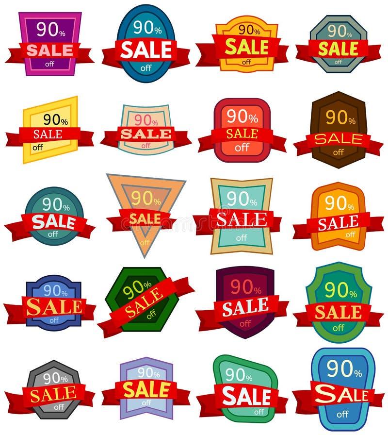 Σύνολο είκοσι αυτοκόλλητων ετικεττών έκπτωσης Ζωηρόχρωμα διακριτικά με την κόκκινη κορδέλλα για την πώληση 90 τοις εκατό μακριά διανυσματική απεικόνιση