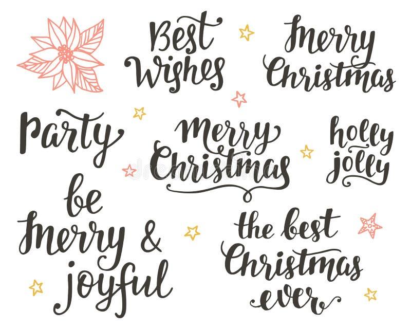 Σύνολο εγγραφής χεριών διακοπών Χριστουγέννων απεικόνιση αποθεμάτων