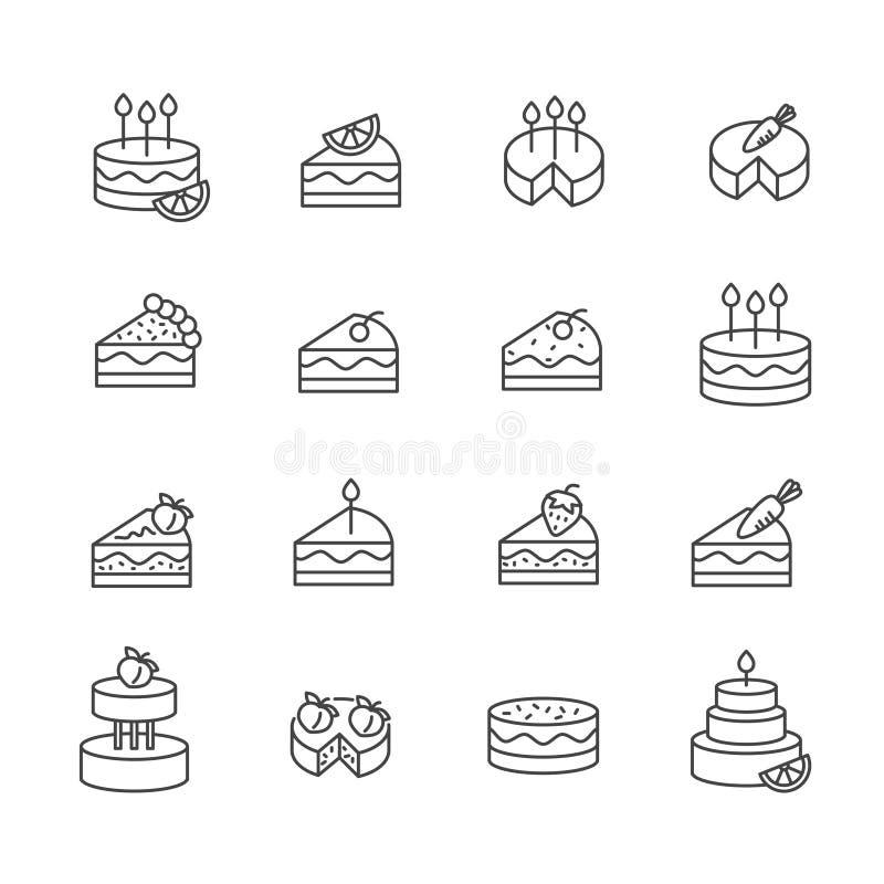 Σύνολο εικονιδίου επιδορπίων κέικ Έννοια γιορτής γενεθλίων που απομονώνεται στο άσπρο υπόβαθρο απεικόνιση αποθεμάτων