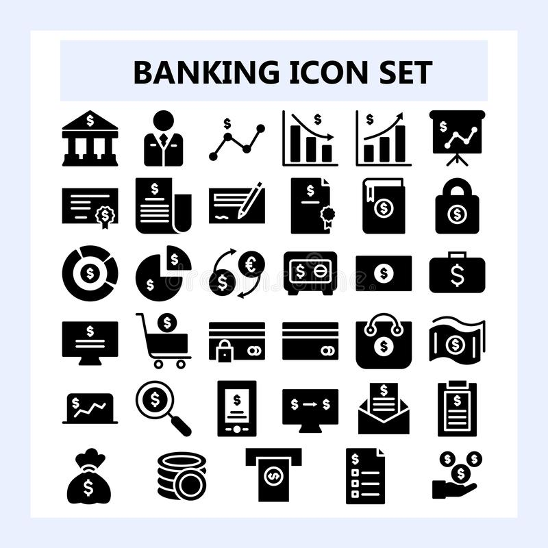 Σύνολο εικονιδίου επιχειρήσεων 30, τραπεζικών εργασιών και χρηματοδότησης στο στερεό ή το ύφος Glyph, απεικόνιση αποθεμάτων