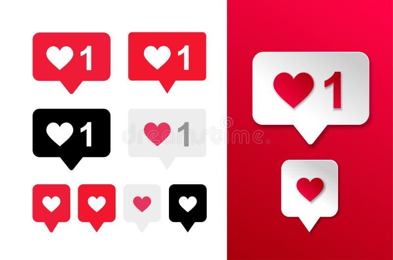 Σύνολο εικονιδίου κουμπιών ομοειδούς και αγάπης καρδιών Αρεστή κόκκινη, γραπτή φυσαλίδα επίσης corel σύρετε το διάνυσμα απεικόνισ απεικόνιση αποθεμάτων