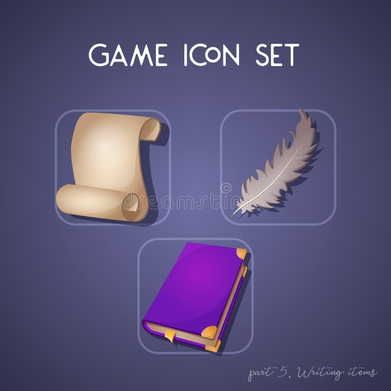 Σύνολο εικονιδίου παιχνιδιών στο ύφος κινούμενων σχεδίων Στοιχεία γραψίματος: κύλινδρος, βιβλίο και φτερό Φωτεινό σχέδιο για app  στοκ φωτογραφία