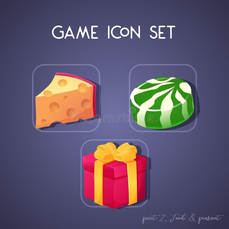 Σύνολο εικονιδίου παιχνιδιών στο ύφος κινούμενων σχεδίων Τρόφιμα και παρόν: τυρί, καραμέλα και κιβώτιο Φωτεινό σχέδιο για app το  στοκ φωτογραφίες