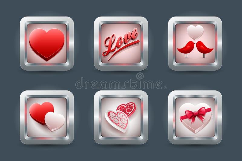 Σύνολο εικονιδίων αγάπης ελεύθερη απεικόνιση δικαιώματος
