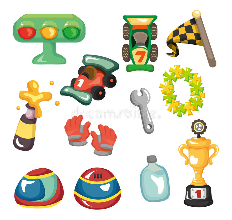 Σύνολο εικονιδίων αγώνα αυτοκινήτων κινούμενων σχεδίων f1 απεικόνιση αποθεμάτων