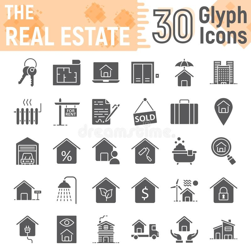 Σύνολο εικονιδίων ακίνητων περιουσιών glyph, συλλογή εγχώριων σημαδιών διανυσματική απεικόνιση