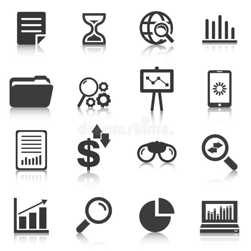 Σύνολο εικονιδίων ανάλυσης στοιχείων, διαγράμματα, γραφικές παραστάσεις επίσης corel σύρετε το διάνυσμα απεικόνισης απεικόνιση αποθεμάτων