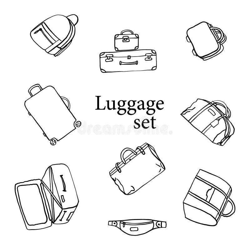 Σύνολο εικονιδίων αποσκευών Σακίδιο πλάτης, τσάντα, βαλίτσα, χαρτοφύλακας, τσάντα αγγελιοφόρων, καροτσάκι, τσάντα ταξιδιού απεικό απεικόνιση αποθεμάτων