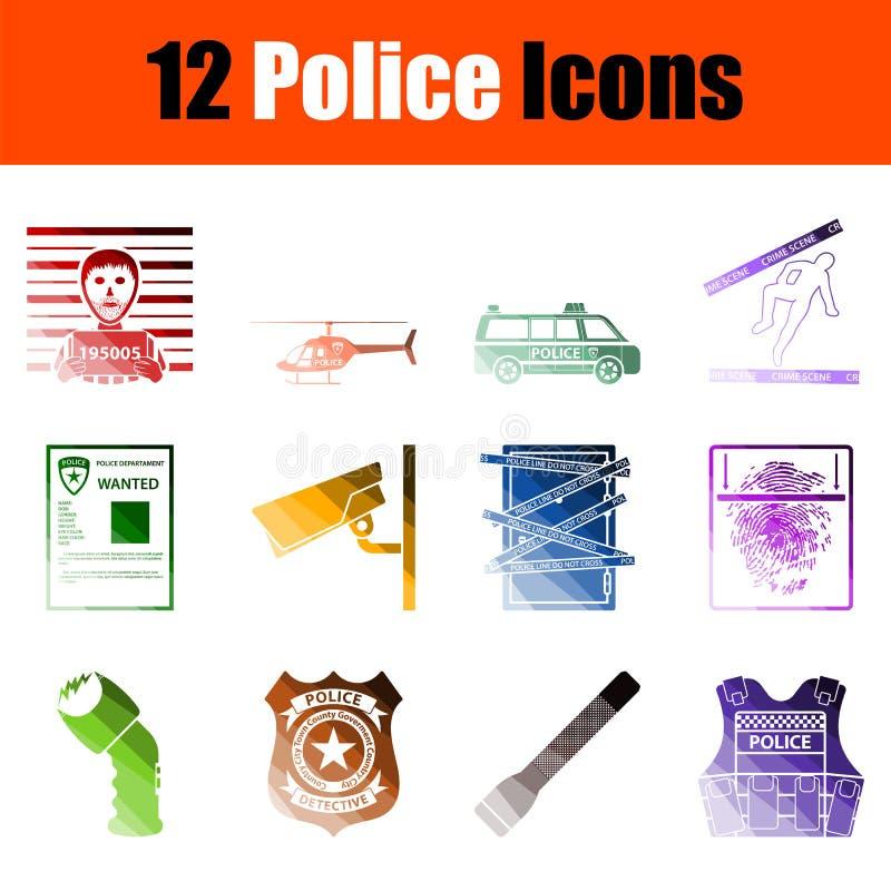 Σύνολο εικονιδίων αστυνομίας διανυσματική απεικόνιση