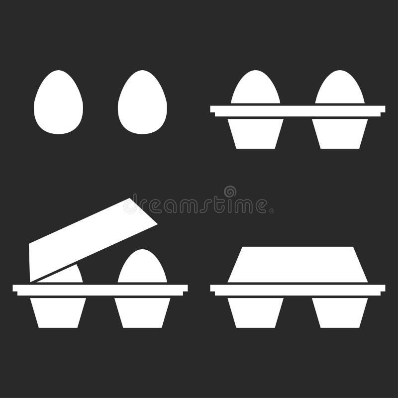 Σύνολο εικονιδίων αυγών 2 αυγά χωριστά και στη συσκευασία Απομονωμένα διανυσματικά αντικείμενα ελεύθερη απεικόνιση δικαιώματος