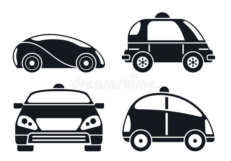 Σύνολο εικονιδίων αυτοκινήτων Driverless, απλό ύφος ελεύθερη απεικόνιση δικαιώματος