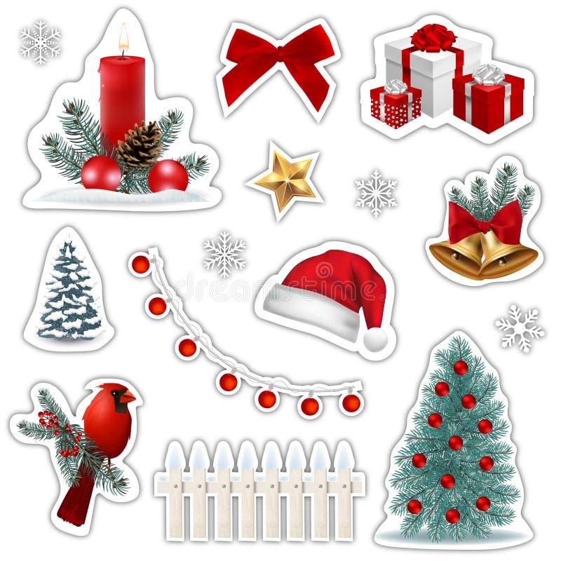 Σύνολο εικονιδίων αυτοκόλλητων ετικεττών Χριστουγέννων διανυσματική απεικόνιση
