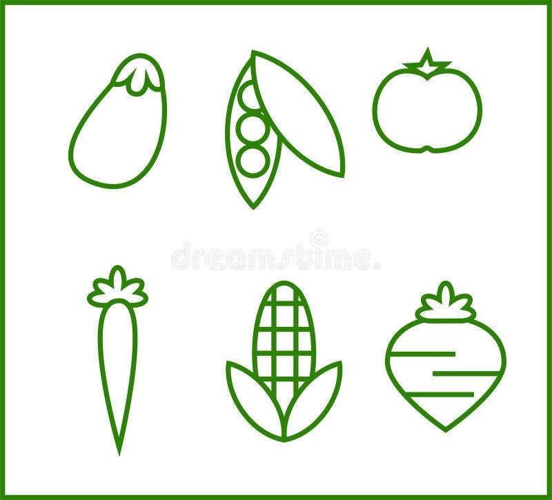 Σύνολο εικονιδίων για μερικά λαχανικά διανυσματική απεικόνιση