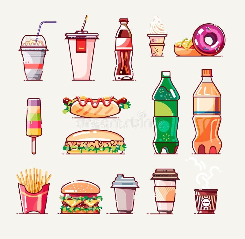 Σύνολο εικονιδίων γρήγορου φαγητού Επίπεδο ύφος r απεικόνιση αποθεμάτων