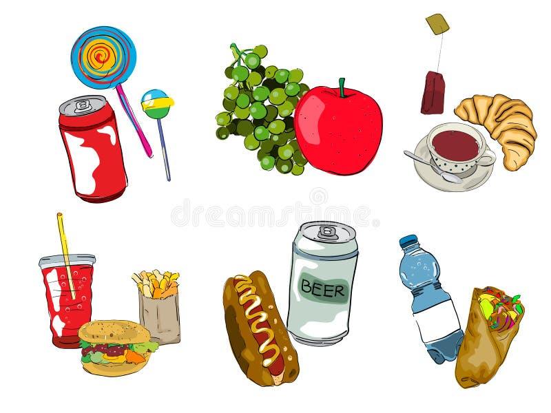 Σύνολο εικονιδίων γρήγορου φαγητού ελεύθερη απεικόνιση δικαιώματος