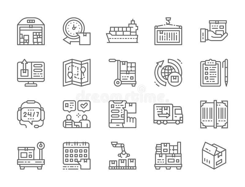 Σύνολο εικονιδίων γραμμών διοικητικών μεριμνών και παράδοσης Αποθήκη εμπορευμάτων, φορτίο, εμπορευματοκιβώτιο και περισσότεροι ελεύθερη απεικόνιση δικαιώματος