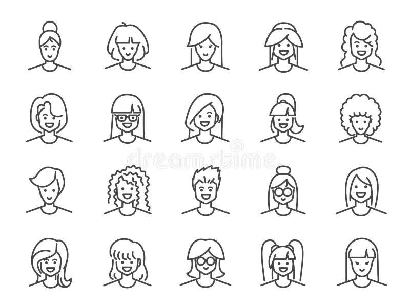Σύνολο εικονιδίων γραμμών ειδώλων γυναικών Συμπεριλαμβανόμενα εικονίδια ως θηλυκό, κορίτσι, σχεδιάγραμμα, προσωπικό και περισσότε διανυσματική απεικόνιση