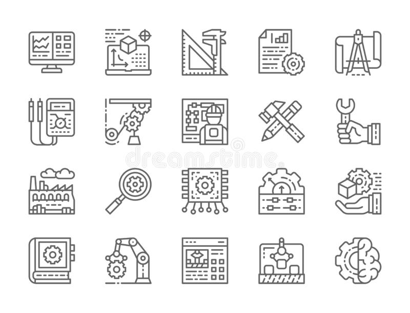 Σύνολο εικονιδίων γραμμών εφαρμοσμένης μηχανικής και κατασκευής Παρουσίαση, εργαλεία και περισσότεροι απεικόνιση αποθεμάτων