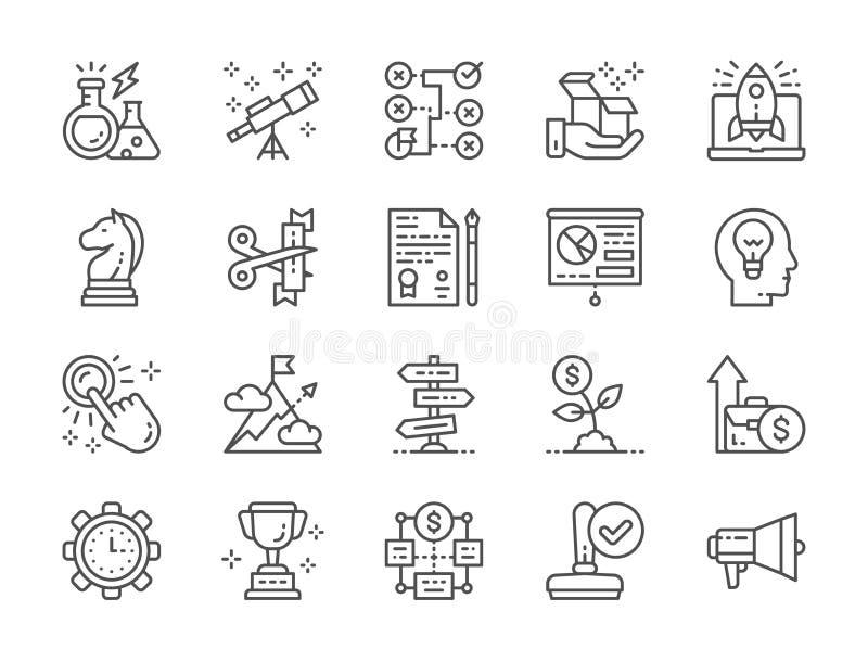 Σύνολο εικονιδίων γραμμών ξεκινήματος Megaphone, τρόπαιο, στρατηγική, δέντρο χρημάτων και περισσότεροι διανυσματική απεικόνιση