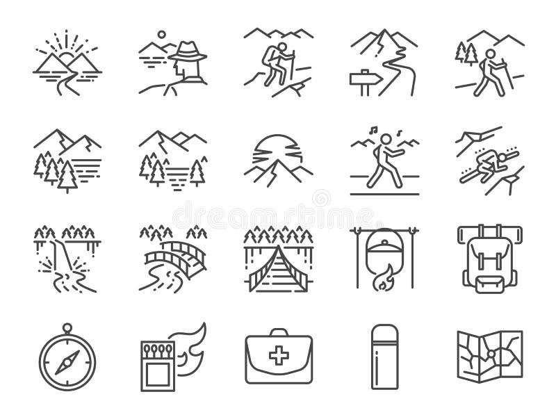 Σύνολο εικονιδίων γραμμών οδοιπορίας Περιέλαβε τα εικονίδια ως άποψη, φύση, στρατοπέδευση, βουνό, δάσος, ταξίδι, ηλιοβασίλεμα και ελεύθερη απεικόνιση δικαιώματος