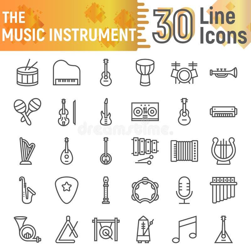 Σύνολο εικονιδίων γραμμών οργάνων μουσικής, μουσική συλλογή συμβόλων, διανυσματικά σκίτσα, απεικονίσεις λογότυπων, υγιή σημάδια απεικόνιση αποθεμάτων