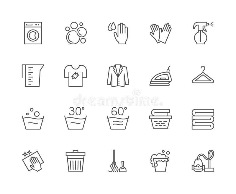 Σύνολο εικονιδίων γραμμών πλυντηρίων Πλυντήριο, γάντια, μπλούζα, κρεμάστρα και περισσότεροι διανυσματική απεικόνιση