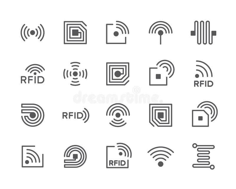 Σύνολο εικονιδίων γραμμών τσιπ RFID Κεραία, κύκλωμα, ετικέττα, καλώδιο, ραδιόφωνο και περισσότεροι ελεύθερη απεικόνιση δικαιώματος