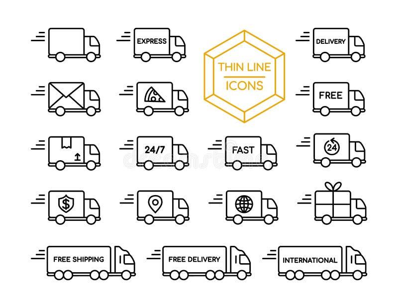 Σύνολο εικονιδίων γραμμών υπηρεσιών αποστολής φορτηγών παράδοσης λεπτά ελεύθερη απεικόνιση δικαιώματος