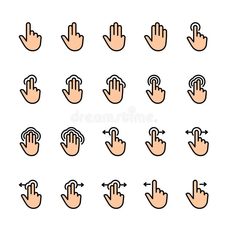 Σύνολο εικονιδίων γραμμών χρώματος χειρονομιών αφής απεικόνιση αποθεμάτων