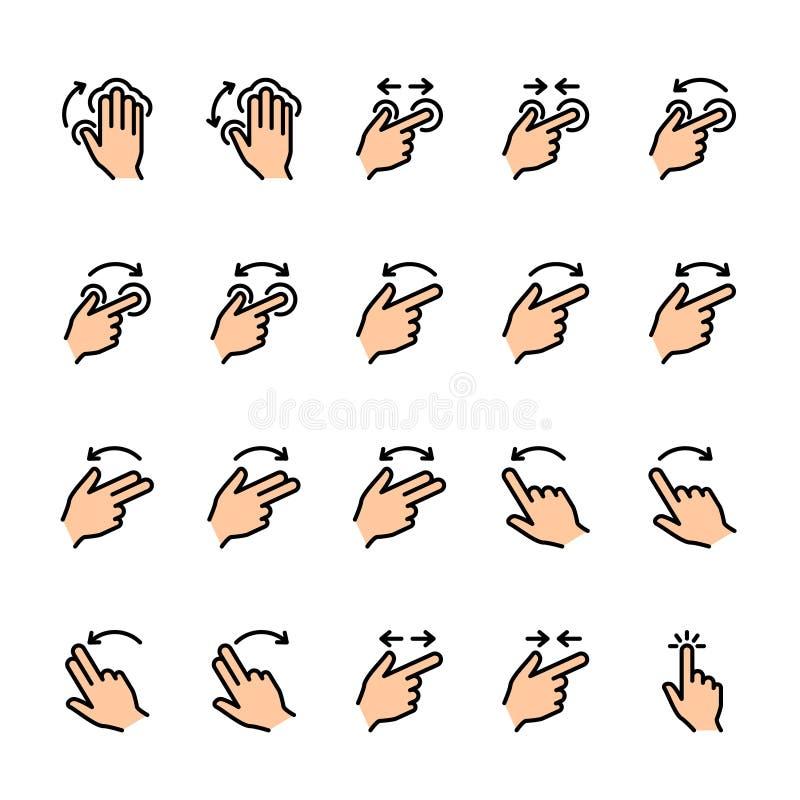 Σύνολο εικονιδίων γραμμών χρώματος χειρονομιών αφής διανυσματική απεικόνιση