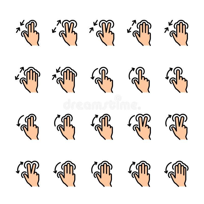 Σύνολο εικονιδίων γραμμών χρώματος χειρονομιών αφής ελεύθερη απεικόνιση δικαιώματος