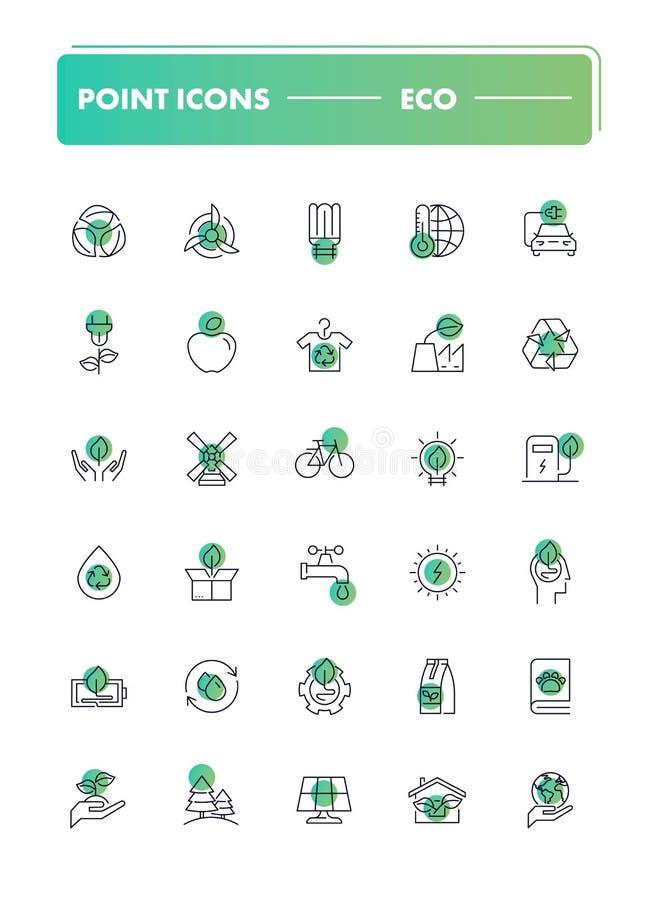 Σύνολο 30 εικονιδίων γραμμών eco ελεύθερη απεικόνιση δικαιώματος