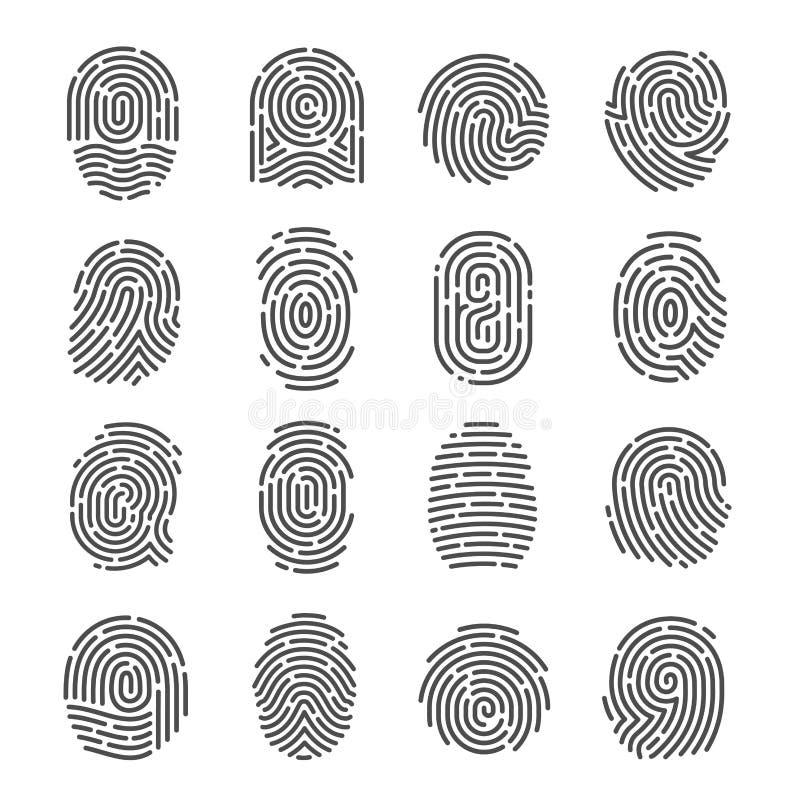 Σύνολο εικονιδίων δακτυλικών αποτυπωμάτων ελεύθερη απεικόνιση δικαιώματος