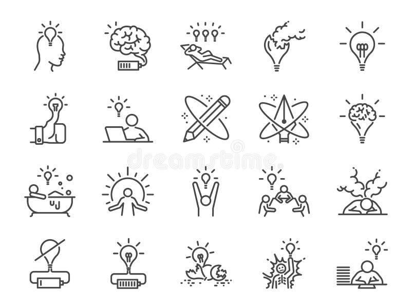 Σύνολο εικονιδίων δημιουργικότητας Συμπεριλαμβανόμενα εικονίδια ως έμπνευση, ιδέα, εγκέφαλος, καινοτομία, φαντασία και περισσότερ ελεύθερη απεικόνιση δικαιώματος