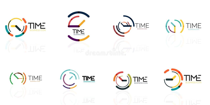 Σύνολο εικονιδίων, διανυσματικής αφηρημένης ιδέας λογότυπων, χρονικής έννοιας ή επιχειρησιακού εικονιδίου ρολογιών Δημιουργικό πρ ελεύθερη απεικόνιση δικαιώματος