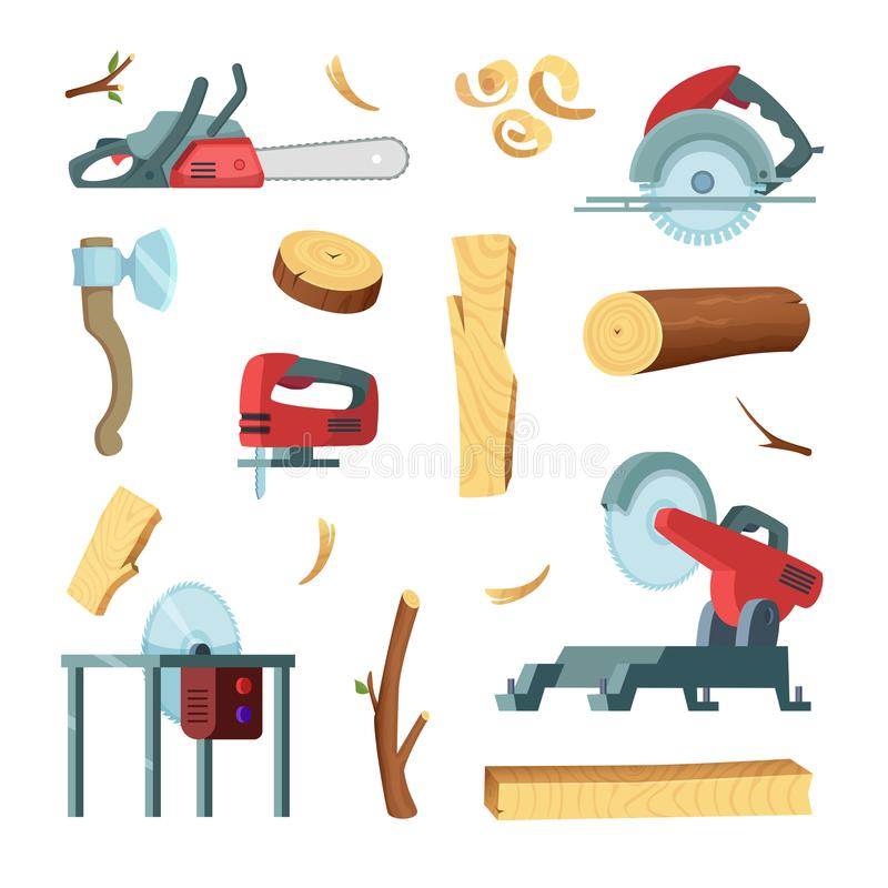 Σύνολο εικονιδίων διαφορετικών εργαλείων της ξύλινης παραγωγής βιομηχανίας ελεύθερη απεικόνιση δικαιώματος
