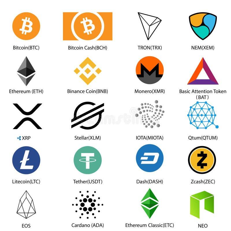 Σύνολο εικονιδίων είκοσι πιό αναγνωρίσιμων crypto νομισμάτων με ένα υπογεγραμμένο όνομα για κάθε ένα ελεύθερη απεικόνιση δικαιώματος
