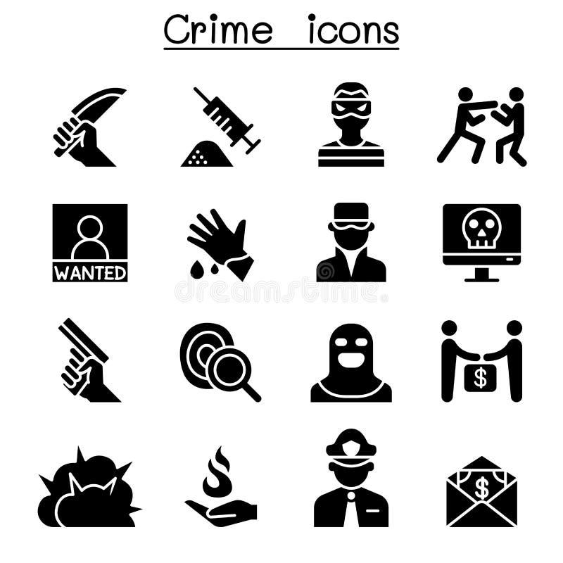 Σύνολο εικονιδίων εγκλήματος & βίας ελεύθερη απεικόνιση δικαιώματος