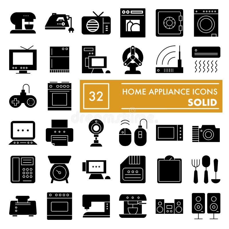 Σύνολο εικονιδίων εγχώριων συσκευών glyph, συλλογή οικιακών συμβόλων, διανυσματικά σκίτσα, απεικονίσεις λογότυπων, ηλεκτρικές συσ διανυσματική απεικόνιση