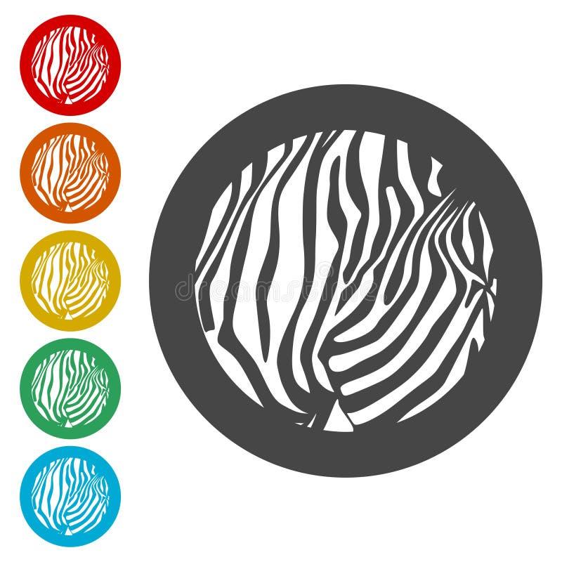Σύνολο εικονιδίων εκτύπωσης Zebra Print - Εικόνα ελεύθερη απεικόνιση δικαιώματος