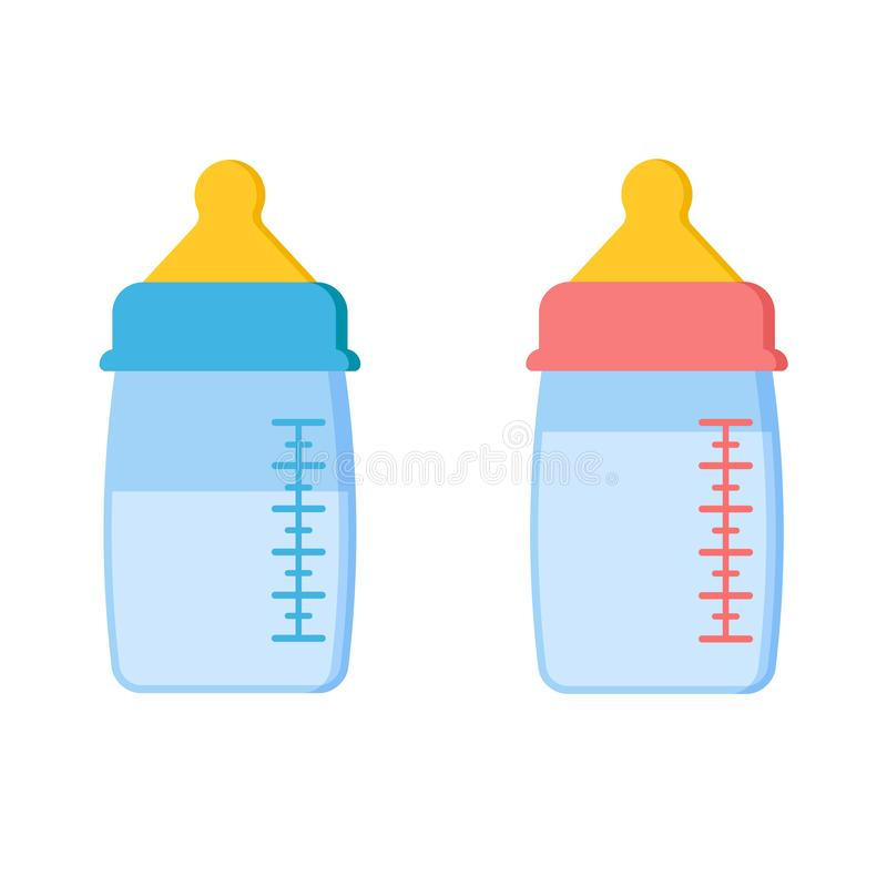 Σύνολο εικονιδίων εξελικτικών μπουκαλιών μωρών πλαστικού ή γυαλιού με το γάλα ή το νερό διανυσματική απεικόνιση