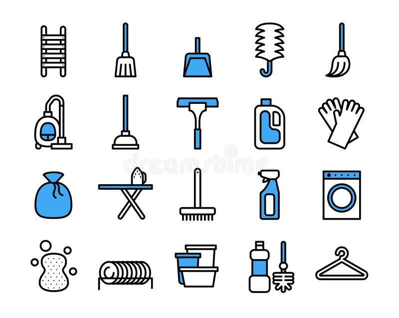 Σύνολο εικονιδίων εξοπλισμού καθαρισμού Διανυσματικό λεπτό ύφος γραμμών ελεύθερη απεικόνιση δικαιώματος