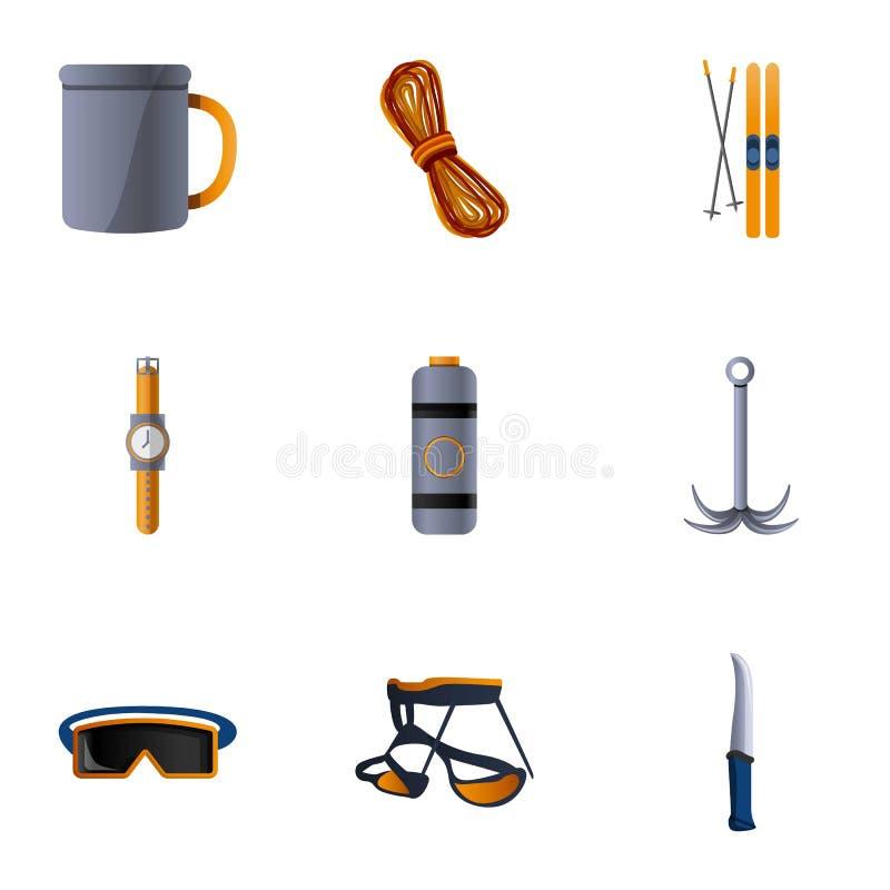 Σύνολο εικονιδίων εξοπλισμού πεζοπορίας, ύφος κινούμενων σχεδίων απεικόνιση αποθεμάτων