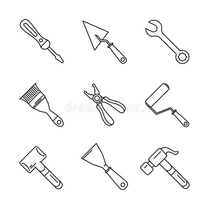 Σύνολο εικονιδίων εργαλείων κατασκευών ελεύθερη απεικόνιση δικαιώματος