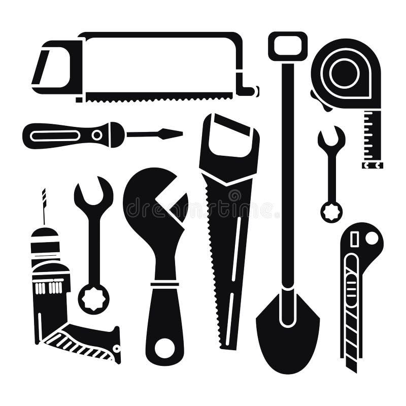 Σύνολο εικονιδίων εργαλείων κατασκευών διανυσματική απεικόνιση