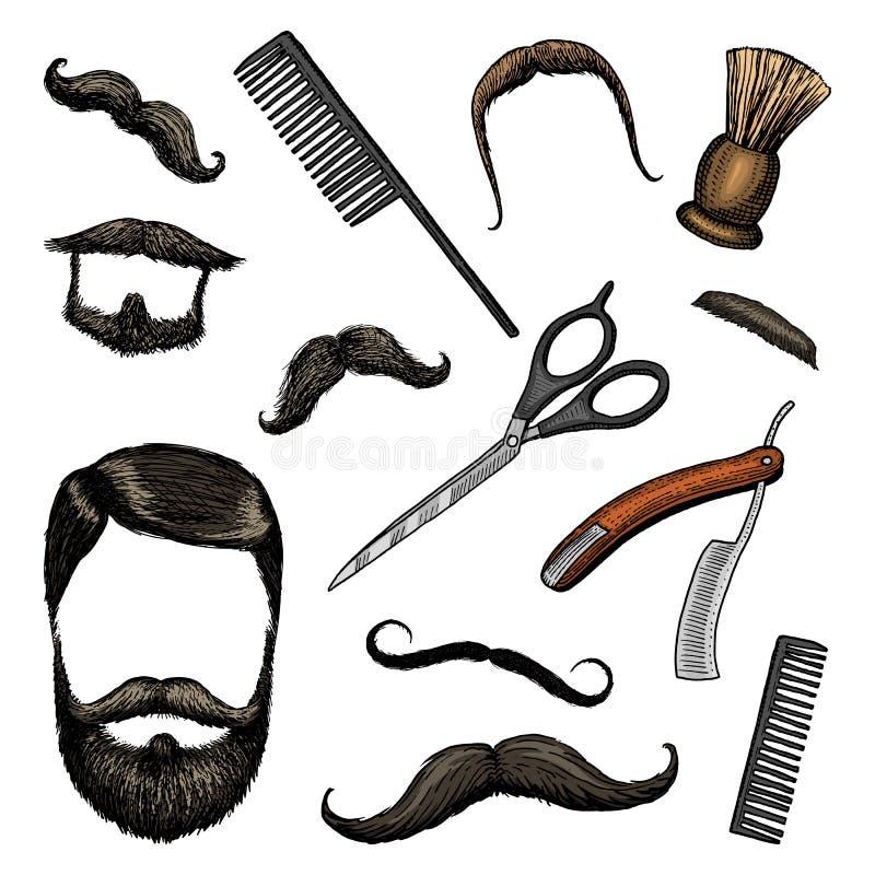 Σύνολο εικονιδίων εργαλείων Barbershop άτομο ή hipster μόδα τρίχα και γενειάδα και mustache, βούρτσα και ξυράφι για το ξύρισμα χα ελεύθερη απεικόνιση δικαιώματος
