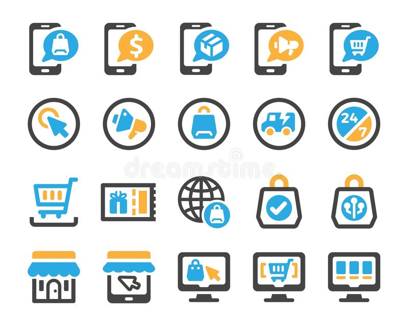 Σύνολο εικονιδίων ηλεκτρονικού εμπορίου διανυσματική απεικόνιση