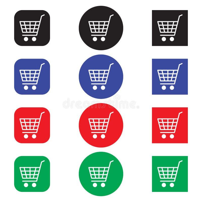 Σύνολο εικονιδίων ηλεκτρονικού εμπορίου, κάρρο αγορών, που απομονώνεται στο άσπρο υπόβαθρο, διανυσματική απεικόνιση ελεύθερη απεικόνιση δικαιώματος