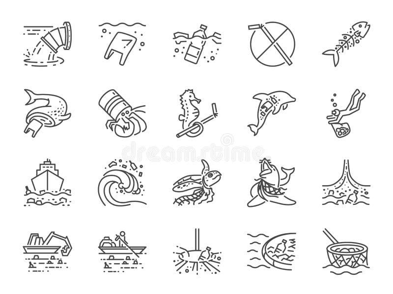 Σύνολο εικονιδίων θαλάσσιας ρύπανσης Περιέλαβε τα εικονίδια ως ωκεάνια απορρίμματα, απόβλητα, παλιοπράγματα, πλαστικό, ωκεάνιο κα ελεύθερη απεικόνιση δικαιώματος