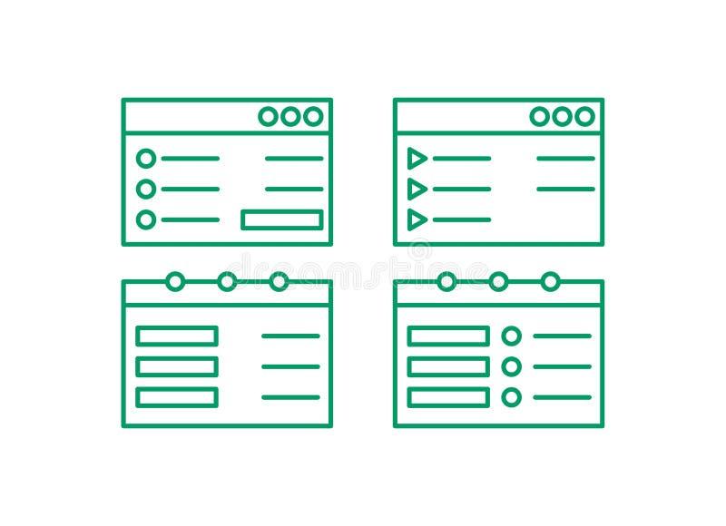 Σύνολο εικονιδίων ιστοσελίδας Εκδώστε το λογότυπο γραμμών Διανυσματικό illustation σημειώσεων διανυσματική απεικόνιση